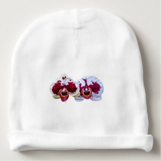 Maroon and White Phalaenopsis Orchids Side by Side Baby Beanie