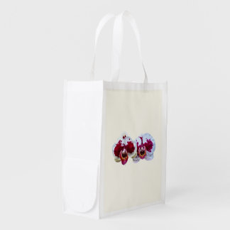 Maroon and White Phalaenopsis Orchids Side by Side Market Totes