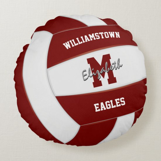 maroon and white sports team colors volleyball round pillow