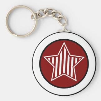 Maroon and White Star Keychain