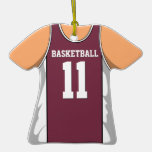 Maroon and White Stripe Basketball Jersey Ornament