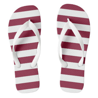 Maroon and White Striped Flip Flops