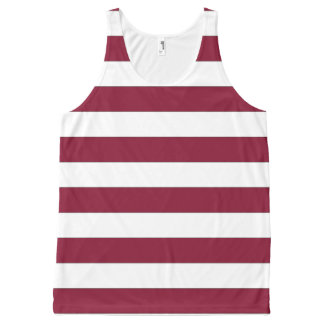 Maroon and White Striped Tank Top