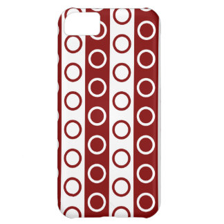 Maroon and White Stripes and Polka Dots iPhone 5C Cover