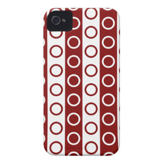 Maroon and White Stripes and Polka Dots Case-Mate iPhone 4 Cases