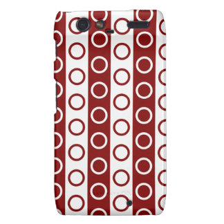 Maroon and White Stripes and Polka Dots Motorola Droid RAZR Covers