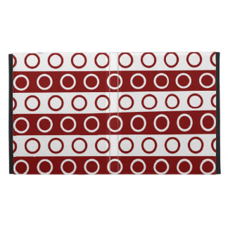 Maroon and White Stripes and Polka Dots iPad Folio Case