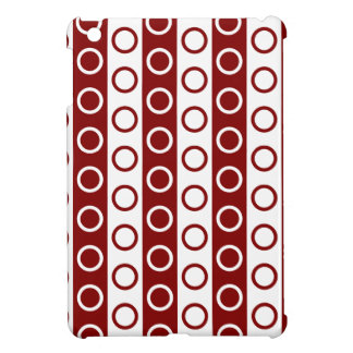Maroon and White Stripes and Polka Dots Case For The iPad Mini