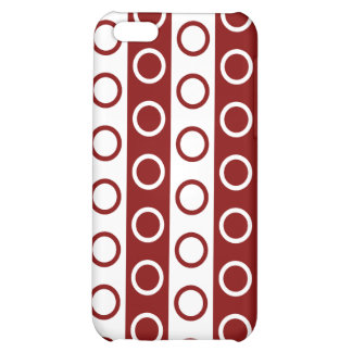 Maroon and White Stripes and Polka Dots iPhone 5C Case