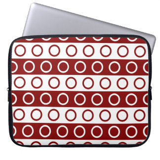Maroon and White Stripes and Polka Dots Laptop Sleeves