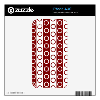 Maroon and White Stripes and Polka Dots iPhone 4 Decals