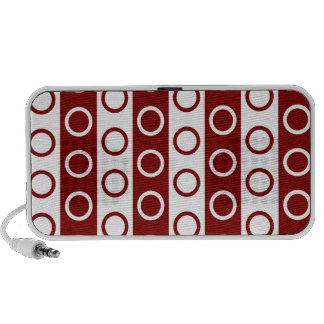 Maroon and White Stripes and Polka Dots iPhone Speakers