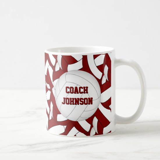 maroon and white volleyball team colors coach gift coffee mug