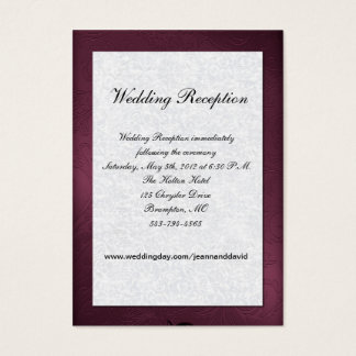 Maroon and White Wedding Enclosure Card