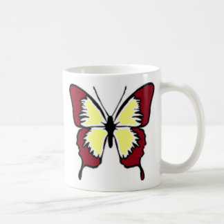 Maroon and Yellow Butterfly Coffee Mugs