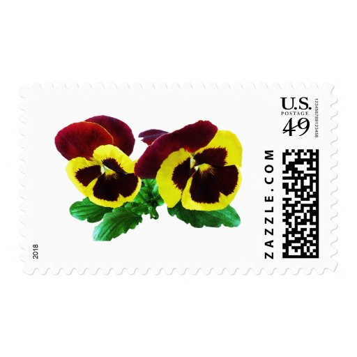 Maroon and Yellow Pansies Stamps