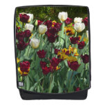 Maroon and Yellow Tulips Colorful Floral Backpack