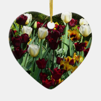 Maroon and Yellow Tulips Colorful Floral Ceramic Ornament