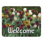 Maroon and Yellow Tulips Colorful Floral Door Sign