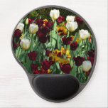 Maroon and Yellow Tulips Colorful Floral Gel Mouse Pad