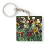 Maroon and Yellow Tulips Colorful Floral Keychain