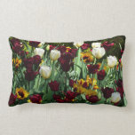 Maroon and Yellow Tulips Colorful Floral Lumbar Pillow