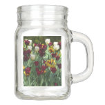 Maroon and Yellow Tulips Colorful Floral Mason Jar