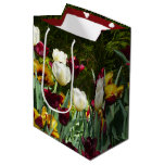 Maroon and Yellow Tulips Colorful Floral Medium Gift Bag