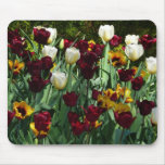 Maroon and Yellow Tulips Colorful Floral Mouse Pad
