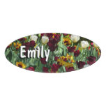 Maroon and Yellow Tulips Colorful Floral Name Tag
