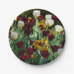 Maroon and Yellow Tulips Colorful Floral Paper Plate