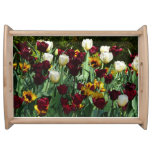 Maroon and Yellow Tulips Colorful Floral Serving Tray