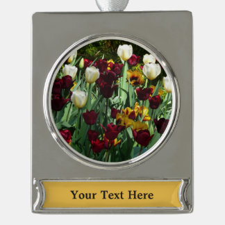 Maroon and Yellow Tulips Colorful Floral Silver Plated Banner Ornament