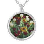 Maroon and Yellow Tulips Colorful Floral Silver Plated Necklace