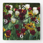 Maroon and Yellow Tulips Colorful Floral Square Wall Clock