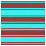 [ Thumbnail: Maroon, Aqua & Light Sea Green Colored Lines Fabric ]
