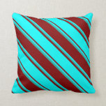 [ Thumbnail: Maroon, Aqua & Light Sea Green Colored Lines Throw Pillow ]
