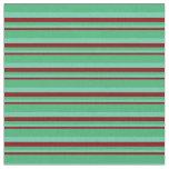 [ Thumbnail: Maroon, Aquamarine & Sea Green Colored Lines Fabric ]
