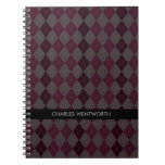 Maroon Argyle Pattern Personalized Notebook