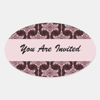 Maroon Art Deco Invitation Oval Sticker