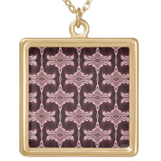 Maroon Art Deco Pattern Gold Plated Necklace