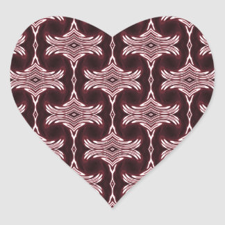 Maroon Art Deco Pattern Heart Sticker