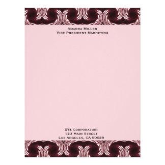 Maroon Art Deco Pattern Letterhead