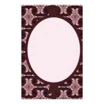 Maroon Art Deco Pattern Stationery