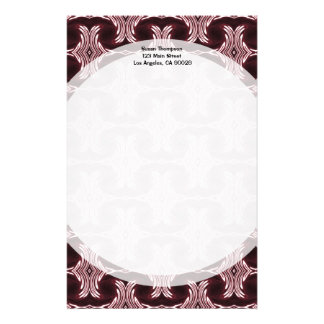 Maroon Art Deco Pattern Personalized Stationery