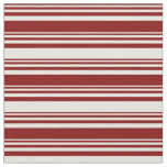 [ Thumbnail: Maroon & Beige Lined/Striped Pattern Fabric ]