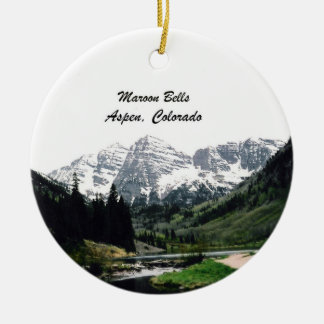 Maroon Bells, Aspen, Colorado Double-Sided Ceramic Round Christmas Ornament