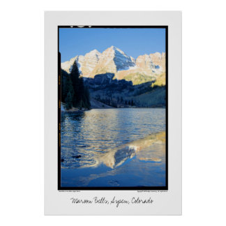 Maroon Bells in Ice on Stream, Aspen, Colorado Poster