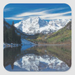 Maroon Bells in White River National Forest in Square Sticker