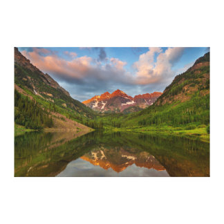 Maroon Bells Reflect Into Calm Maroon Lake 2 Gallery Wrapped Canvas